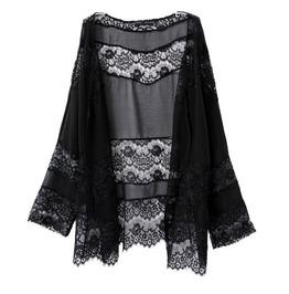 Lace Patchwork Boho Chiffon Kimono Black