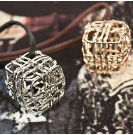 Cube Necklace 40 (Gold)