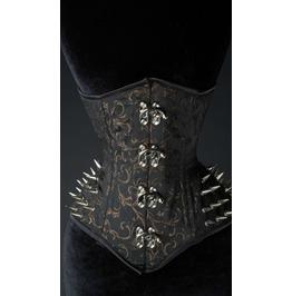 Steel Boned Black Gold Brocade Gothic Extreme Waist Spike Underbust Corset
