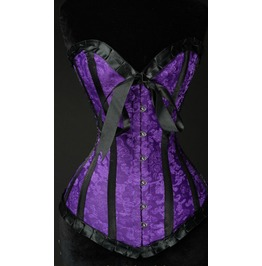 Steel Boned Black Purple Brocade Victorian Gothic Romantic Overbust Corset