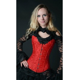 Steel Boned Red Brocade Cleavage Overbust Corset $9 Worldwide Shipping