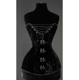 Steel Boned Black Cleavage Velvet Overbust Corset $9 Worldwide Shipping