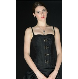 Steel Boned Black White Pinstripe Victorian Gothic Clasp Overbust Corset