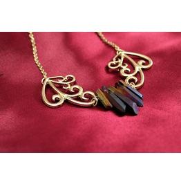 Steampunk Victorian Art Nouveau Quartz Crystal Necklace