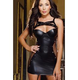 Leather Looking Black Sleeveless Gothic Dress