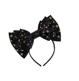 Studs, Spikes, & Swarovski® Black Satin Bow