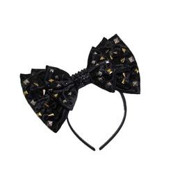 Studs, Spikes, & Swarovski® Black Satin Bow