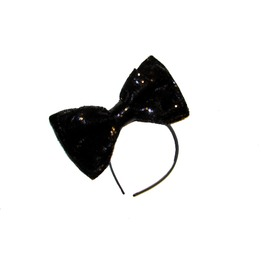 Black Sequin Sparkle Bow