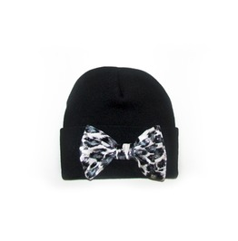 Black Beanie White Leopard Bow