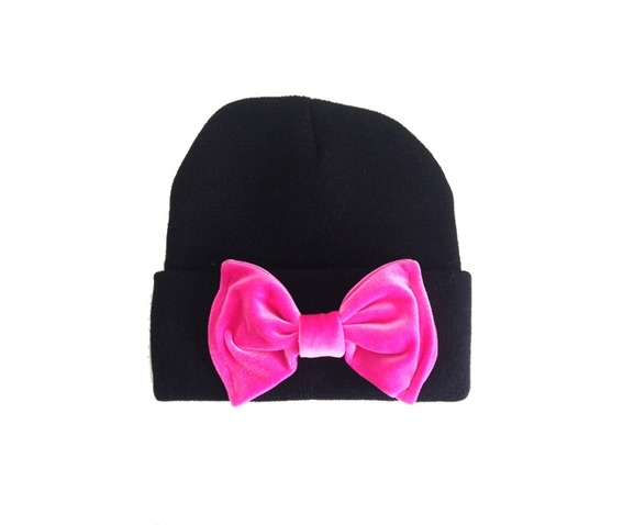 black_beanie_hot_pink_bow_hats_and_caps_3.jpg