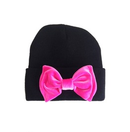 Black Beanie Hot Pink Bow