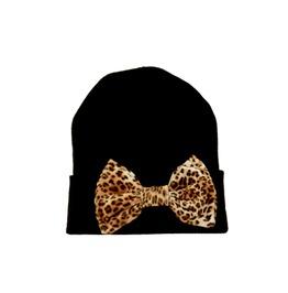 Black Beanie Leopard Bow