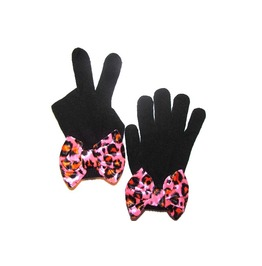 Black Mittens Pink Leopard Bow