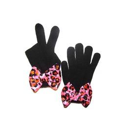 Black Mittens Pink Leopard Bow