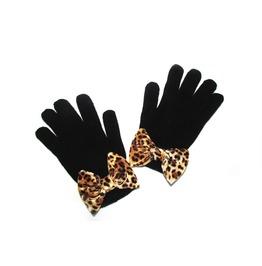 Black Mittens Leopard Bow