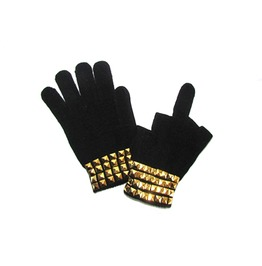 Black Mittens Gold Studs