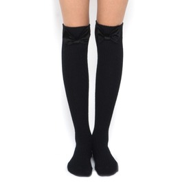 Velvet Bow Socks Black
