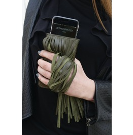 Oil Green Case/ Leather Phone Case/ Green Iphone Case / Fringed Phone Case