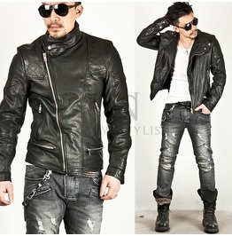 Premium Genuine Cowhide Pintuck Accent Leather Jacket 51