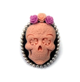 Day Dead Brooch, Rockabilly Pink Black Skull Cameo Pin