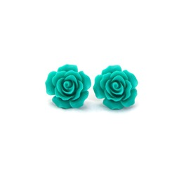 Large Turquoise Rose Earrings Rockabilly, Pinup Flower Jewelry
