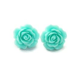 Pinup Light Aqua Rose Earrings Rockabilly Large Flower Jewelry