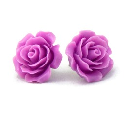 Large Purple Rose Earrings Big Fashion Earrings Lilac, Lavender Flower