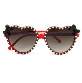 Pinup Rhinestone Black Bow Retro Red Heart Shaped Sunglasses
