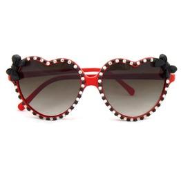 Pinup Rhinestone Black Bow Retro Red Heart Shaped Sunglasses