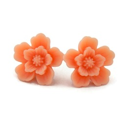 Vintage Inspired Large Peach Sakura Flower Earrings