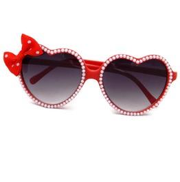 Rockabilly Pearl Polka Dot Bow Retro Red Heart Shaped Sunglasses