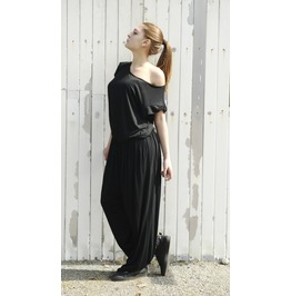 Loose Black Jumpsuit / Fallen Sleeve Jumpsuit /Long Jumpsuit /Maxi Jumpsuit