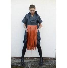 Genuine Leather Clutch/ Fringed Clutch/ Orange Bag / Tote Bag / Leathe Bag