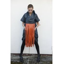 Genuine Leather Clutch/ Fringed Clutch/ Orange Bag / Tote Bag / Leathe Bag