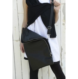 Genuine Leather Bag / Black Bag Zipper / Black Handbag / Casual Bag