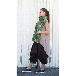 Camouflage Tunic / Asymmetric Beige Camo Tunic / Extravagant Tunic