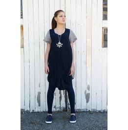 Navy Blue Grey Shirt / Summer Shirt / Short Sleeve Top / Womens Tunic