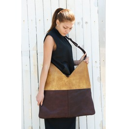 Leather Bag / Large Woman Bag / Brown Yellow Bag / Two Colored Bag