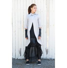 Long Grey Shirt / Short Sleeve Top / Asymmetric Shirt / Womens Tunic