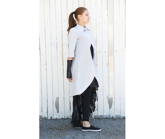 long_grey_shirt_short_sleeve_top_asymmetric_shirt_womens_tunic_shirts_5.jpg