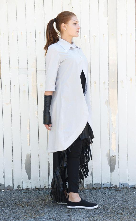 long_grey_shirt_short_sleeve_top_asymmetric_shirt_womens_tunic_shirts_5.jpg