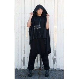 Asymmetric Black Vest / Women Casual Vest / Hooded Vest / Extravagant Vest
