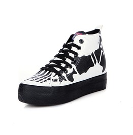 Skull Women Canvas Shoes White/Black