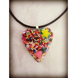 Candy Kandi Sprinkle Art Necklace Heart Shaped