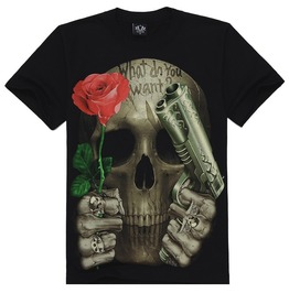 Mens Skull With Rose & Gun Print Short Sleeve T Shirts