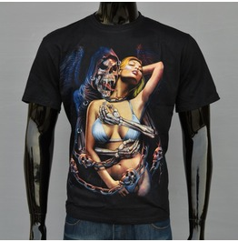 Mens Skeleton Sexy Girl Printed Short Sleeve T Shirts