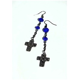 Dangle Earrings Blue Deep Blue Glass Beads Embossed Crosses