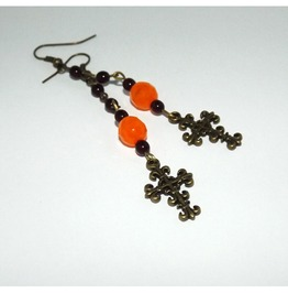 Rosary Type Earrings Brass Cross Contrastic Bright Orange Beads