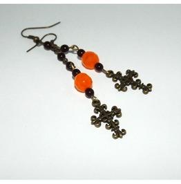 Rosary Type Earrings Brass Cross Contrastic Bright Orange Beads