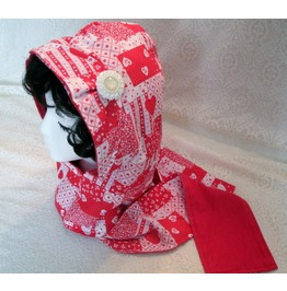 Red Hooded Scarf, Rockabilly Goth Steampunk Retro Fashion Clothing